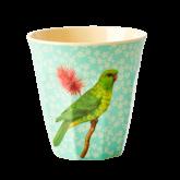 Rice Beker Melamine Vintage Bird Print Green