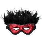 Rimba Luxe Oogmasker met Veren RoodOne-Size